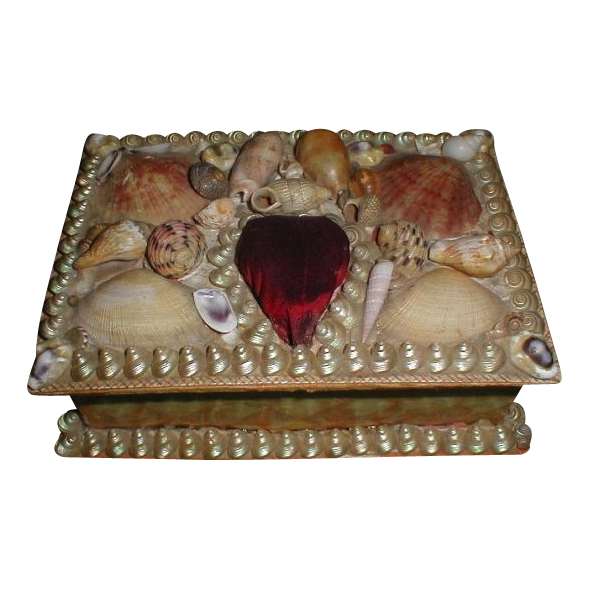 Lovely CA 1900 Shellwork Sewing Box, Heart Pin Cushion