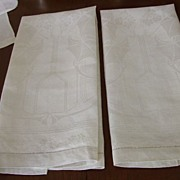 "Pr. Of Unused Damask Linen 17x34"" Towels C:1950"