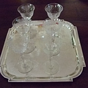 "SALE Set Of Six 6"" Tall Etched Crystal Aperitif Stems C:1931"