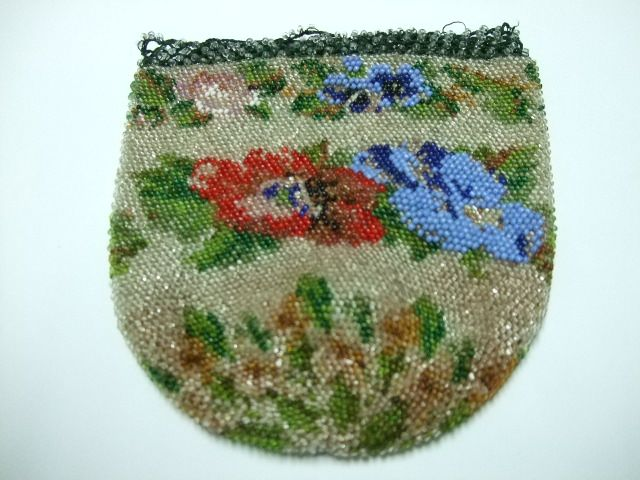 Beaded Bag With Floral Designs
