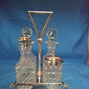 SALE English Cruet Set In Stand With Four Holders