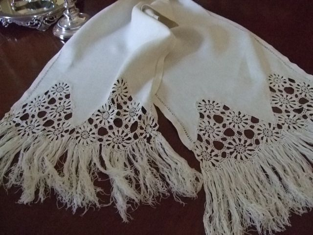 Linen Crochet Table Runner/ Show Towel C:1900