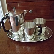 SALE Kirk Stieff 3 Piece Demitasse Set With Academy Silver Tray