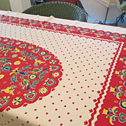 "Vintage Cotton Colorful 52 x 60"" Tablecloth"
