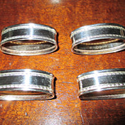 English Maker Ari Norman Set Of Four Sterling Napkin Rings