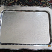 """Footed Silver On Copper Handled Waiter Tray 30 1/2"""" x 19"""""""