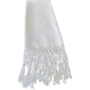 "Unused White  Heavy Cotton Damask ""Show Towel With Hand Tied Fringe C:1930"