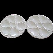 Pr  Vintage Crown Devon Cream  Ceramic Oyster Plates