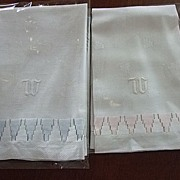 "Pr. of Linen Towels with Hand embroidered ""W"""