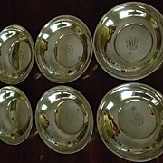Set Of Six Sterling Bowls With Hand Engraved Monogram