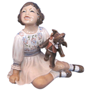 "Dahl Jensen #1204 ""Girl with Toy Elephant"" Porcelain Figurine"