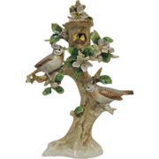 German Sitzendorf Porcelain Bird Figurine in Tree with Baby Chicks