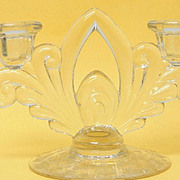Cambridge Glass Rose Point 2-Lite Double Candleholder Candlestick