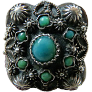 Large Vintage Sterling Ring with Turquoise Stones