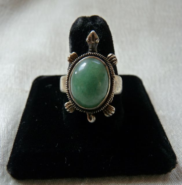 Art Deco Era Chinese Silver Jade Turtle Compartment  Ring