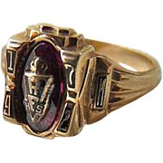 Vintage 10K Gold Ruby Class Ring RF High School
