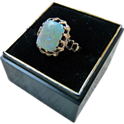 Art Deco 10K Gold Natural Opal Ring