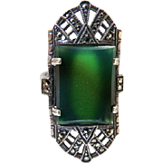 Art Deco Chrysoprase Marcasite Sterling Silver Ring