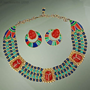 Vintage Hattie Carnegie Egyptian Revival Scarab Necklace & Earrings Set
