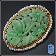 Vintage14k Gold & Seed Pearl Carved Jade Brooch