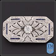 Timeless Art Deco Platinum Diamond & Sapphire Brooch