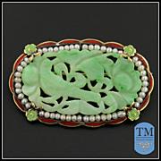 Art Deco 14k Gold, Enamel, & Carved Jade Pin