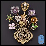 Miniature Masterpiece - Art Nouveau 14k & 10k Gold Stick Pin Cluster Brooch