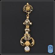 Antique Victorian Swiss Enamel 14k Gold & Diamond Pendant
