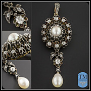 Antique Victorian Diamond & Pearl Brooch or Pendant