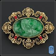 Art Deco 14k Gold & Jade Enamel Pin by Allsopp & Allsopp