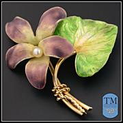 Vintage 14k Enamel Violet Flower Brooch