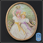 Signed Hand Painted Enamel Brooch in an 18k Gold & Silver Mount
