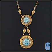Antique Victorian 14k Gold Blue Zircon & Seed Pearl Necklace