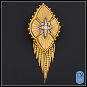 Antique Victorian Etruscan Revival 14k Gold Enamel & Seed Pearl Brooch
