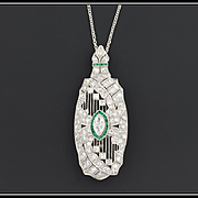 Art Deco Platinum & Diamond Necklace or Brooch