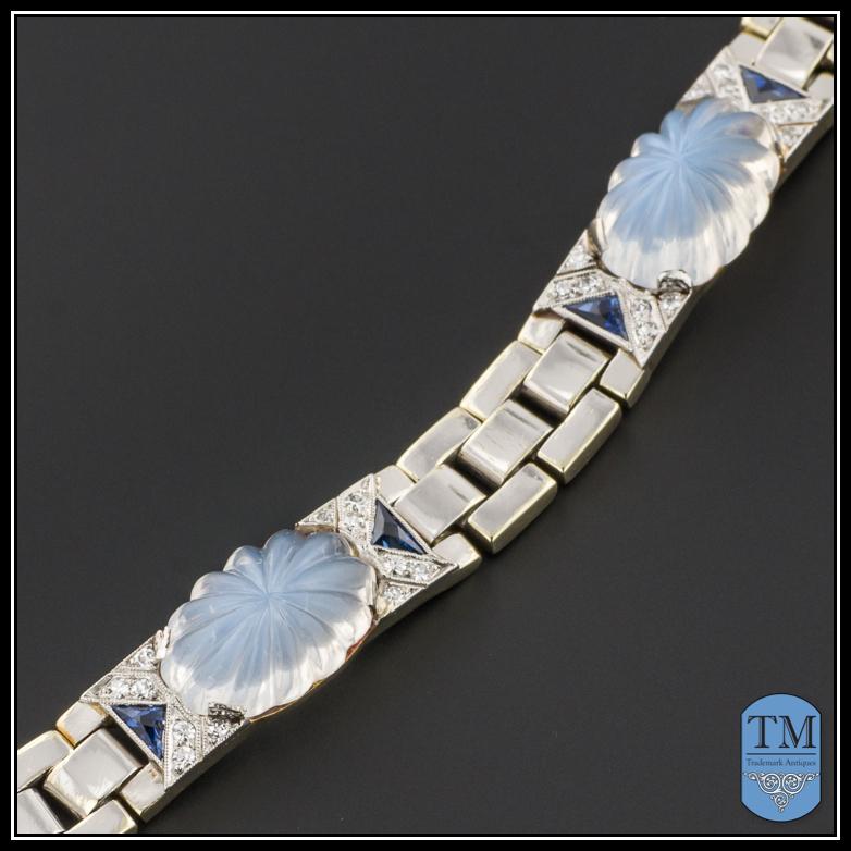 Art Deco 14k Gold Carved Moonstone Diamond & Sapphire Link Bracelet by Krementz & Co.
