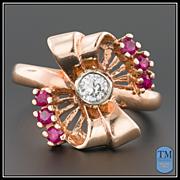 Retro Ruby Diamond & Rose Gold Ring, 1940s Ring