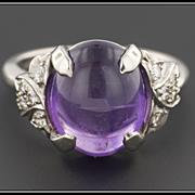 Art Deco Amethyst & Diamond Ring, Natural Amethyst Cabochon, 14k Gold, Vintage Ring
