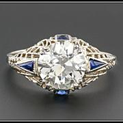 Art Deco 2.4ct Diamond Engagement Ring, 14k Gold Filigree & Sapphire, Vintage, GIA Certified