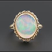Vintage Crystal Opal Ring, 14k Gold Ring