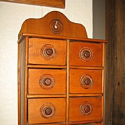8 Drawer Primitive Spice Cabinet