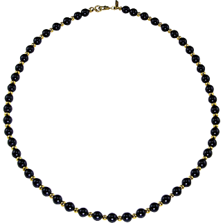 "SALE Signed Monet 18"" Navy Blue Gold Tone Estate Necklace VALENTINE'S DAY SALE"
