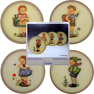 SALE Set OF 4 Hummel Celebration Plate Series In Boxes TWO VALENTINES!