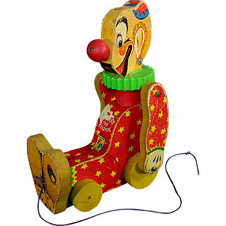 SALE Fisher Price Squeaky The Clown Working Pull Toy 1958 VALENTINE'S DAY SALE