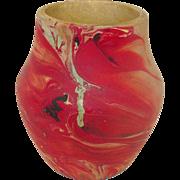 "Nemadji Pottery, Vase, 4 3/4"" Tall, Red and Sand Swirls"