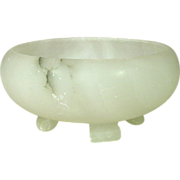 """Carved White Onyx Bowl, footed, 6"""" x 2 5/8"""", Italy"""