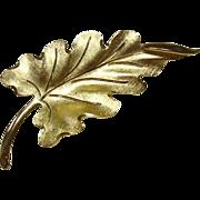 Vintage Monet Leaf Pin, Goldtone
