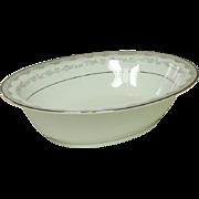 """Noritake China, Japan, #6243 Margaret Pattern, 10"""" Oval Serving Bowl, 1961-1973"""