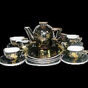 Handpainted, Gilt on Black, Craftsman China, Japan, Tea Set, 1950's