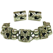 Margarita, Taxco Mexico Sterling Bracelet and Earrings, Signed JH, Mid-Century